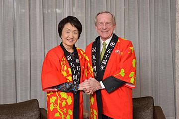 Crown's Founder, Jim Thompson thanks the Yokohama Mayor for hosting us for 50 years